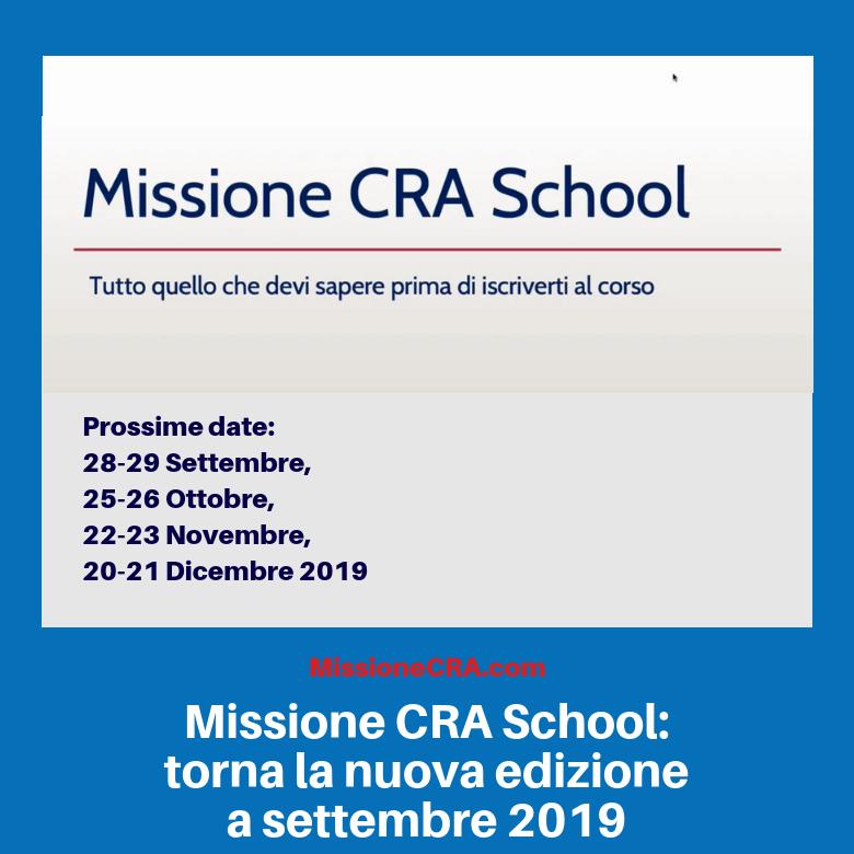Missione CRA School: torna la nuova edizione a settembre 2019